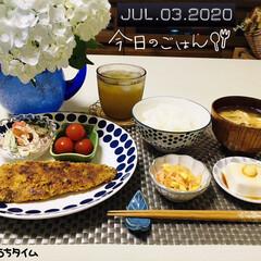 フォロー大歓迎/ランチョンマット/花のある暮らし/暮らし/至福の時間/おうちタイム/...        7/3(金) 夕食  ごは…