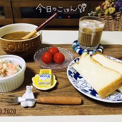カレースープ/フォロー大歓迎/至福の時間/海老サラダ/ミニトマト浅漬け/ランチョンマット/...         6/30(火) 夕食  …