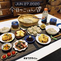 フォロー大歓迎/きゅうりキムチ/アスパラベーコンガーリックソテー/ザーサイ/焼売/かき揚げ蕎麦/...         6/27(土) 夕食  …