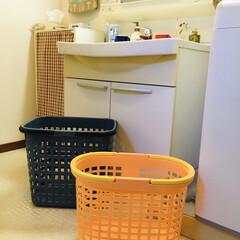 フォロー大歓迎/洗面台/住まい/雑貨/ランドリーボックス/暮らし  我が家のランドリーボックスは2つグレー…