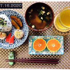 フォロー大歓迎/至福の時間/食欲の秋/由良みかん/onigiriAction/おにぎりアクション2020/...     10/16(金) 朝食 *青菜お…