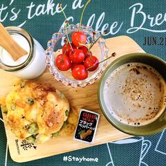 おうちカフェ/フォロー大歓迎/至福の時間/おうち時間/さくらんぼ/佐藤錦/...         6/21(日) 朝食  …