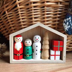 リミとも部/暮らし/クリスマス/クリスマス雑貨/洋室/リビング/... ニトリSALEで買った¥479小さな木製…