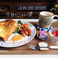 フォロー大歓迎/おうちカフェ/至福の時間/おうち時間/おうちタイム/Q.B.Bベビーチーズ鉄分/...         6/22(月) 朝食  …