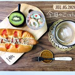 フォロー大歓迎/パン/ランチョンマット/シャンブル/暮らし/至福の時間/...         7/5(日) 朝食  お…