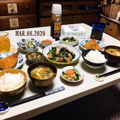 ブルドックソース/中濃ソース 300ml(ウスター、中濃、お好みソース)を使ったクチコミ「        3/8(日) 夕食  ご…」