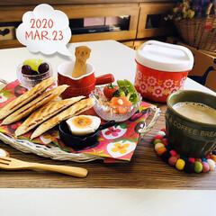ネスカフェ エクセラ ふわラテ ネスレ NESCAFE | ネスカフェ(その他コーヒー)を使ったクチコミ「       3/23(月) 朝食  ヤ…」