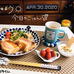 afternoon tea/マスク/フォロー大歓迎/おうちタイム/朝食/ランチョンマット/...        4/30(木) 朝食  ハ…