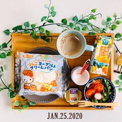 ネスカフェ エクセラ ふわラテ キャラメル 20P×2箱(インスタントコーヒー)を使ったクチコミ「        1/25(土) 朝食  …」