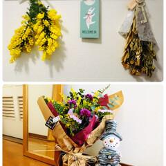 玄関/KOMERI/花束/ミモザ/雑貨/住まい/...   記念の花束💐ドライにして欲しいと託さ…