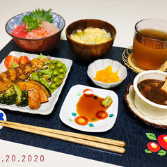 なんじゃ村/ランチョンマット/至福の時間/おうちごはん/夕食/キャンドゥ/...         1/20(月) 夕食  …