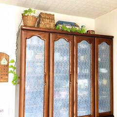フォロー大歓迎/食器棚/簡単DIY/窓用 目隠しシート(レース柄)/シルク/100均/... 100円SHOPシルクで買った簡単DIY…(2枚目)