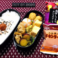 永谷園 ピンクの梅ごましお 45g(ふりかけ)を使ったクチコミ「       10/1(木) 主人弁当🍱…」