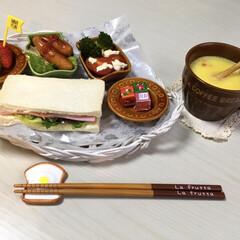 朝食/おうちごはん のんびり一人の朝食 昨日は苺の日🍓