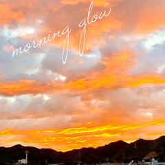 朝焼け/住まい/暮らし/フォロー大歓迎 朝の7時頃の空……朝焼けです。  洗濯物…