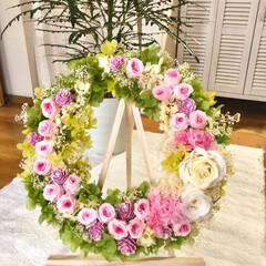 お祝い/リース/ウエディング/プリザーブドフラワー/ダイソー/セリア/... お友達の娘さんが結婚👰💍✨💕されるので、…