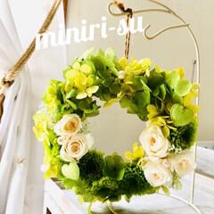 プリザーブドフラワー/ミニリース/紫陽花/小菊/ローズ/令和の一枚/... おはようございます*.(๓´͈ ˘ `͈…