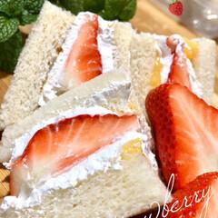 明治 クレミーホイップ / 明治 | 明治(その他製菓材料)を使ったクチコミ「🍓🍓🍓いちごサンド🍓✩°。⋆♡*°  ご…」