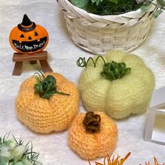 ハロウィン/編みぐるみ/かぼちゃ/ダイソー/セリア/雑貨/... HAPPY HALLOWEEN🎃  かぼ…