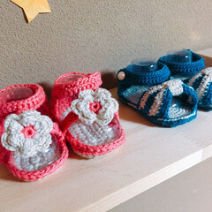 バンドメイド/DIY/ベビーシューズ/ベビーサンダル/子供服/編み物 生後4ヶ月の時に編んだベビーシューズ♡ …