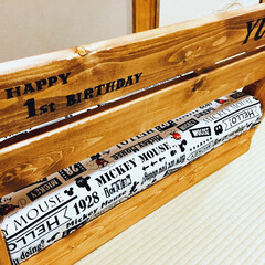 端材/VINTAGEWAX/ウッドバーニング/キッズソファ/キッズインテリア/1×4材/... 娘の1歳の誕生日プレゼンに作ったキッズソ…