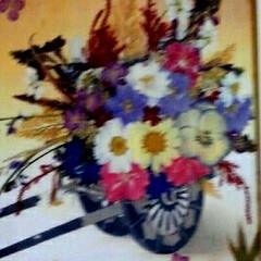 お正月飾り/押し花アート/ハンドメイド 押し花と和紙でつくったお正月用の玄関にか…