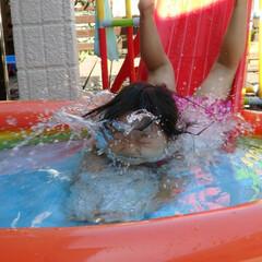 夏休み/子ども/プール/3歳児/2018/自宅プール/... ナイスダイブ!😀