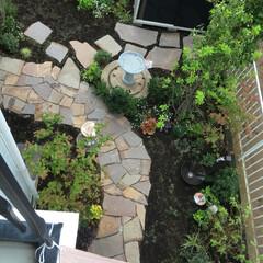 石張り乱形/石張り小路/シェード/雑木ガーデン/ナチュラルガーデン/庭リフォーム/... 2階からのフォトです。 全体像、分かりま…(2枚目)