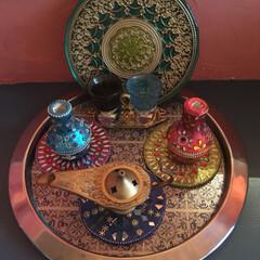 DIY/雑貨/イケア/#モロッコ雑貨#モロッコ風#dec... IKEAで購入したシンプルなトレーをモロ…(1枚目)