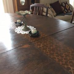 ビンテージ風/ステンシル/セルフペイント/オールドウッドワックス/PAINTINGSTENCILS/夏水組/... 我が家と共に過ごしてきたテーブル(28年…