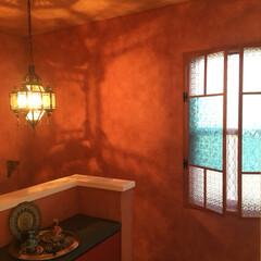 デコ窓DIY/内窓DIY/モロッコ雑貨/モロッコ風/モロッコ照明/インテリア/... 上げ下げ窓に内窓DIYで作りました。 *…