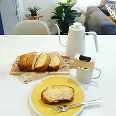 カッティングボード/ドリップコーヒー/おやつ作り/珈琲/コーヒー/電気ケトル/... バナナケーキを娘と作りました。 バナナ多…
