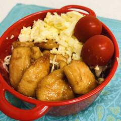 ミニトマト/お酢/キャベツ/鶏胸肉/玉ねぎ/マヨネーズ/... 今日のお弁当  チキン南蛮 ミニトマト