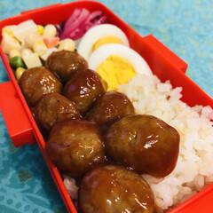 娘弁当/お豆/ゆで卵/ミートボール/紫玉ねぎ/お弁当/... 今日のお弁当  豆サラダ ミートボール …