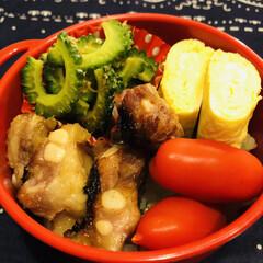 豚軟骨/ゴーヤのお浸し/卵焼き/ミニトマト/お弁当/LIMIAごはんクラブ/... 今日のお弁当  焼き豚軟骨 卵焼き ゴー…