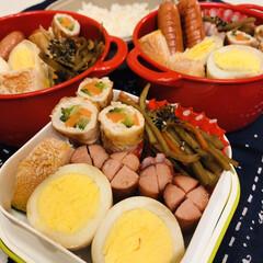 きんぴら/ウインナー/肉巻き/自分弁当/ゆで卵/娘弁当/... 今日のお弁当  人参とゴーヤの肉巻き 味…