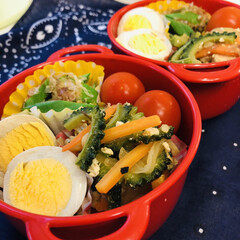 オクラ/ゴーヤ/ゆで卵/ミニトマト/娘弁当/セリア/... 今日のお弁当  ゴーヤチャンプル 味付き…