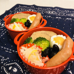 娘弁当/おうちごはんクラブ/LIMIAごはんクラブ/ゆで卵/ウインナー/ブロッコリー/... 今日のお弁当  かじきの煮付け ウインナ…