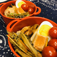 ミニトマト/かぼちゃ/ゆで卵/鶏胸肉/人参/ごぼう/... 今日のお弁当   鳥の照焼き きんぴらご…