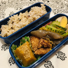 鶏肉/こんにゃく/ゴーヤ/ゆで卵/カボチャ/お弁当/... 1枚目 今日のお弁当  唐揚げ(冷食) …