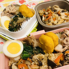 娘弁当/自分弁当/お弁当/ゆで卵/チキンナゲット/豚肉/... 今日のお弁当  きのこごはん 大根煮物 …