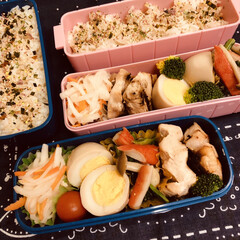 お弁当/手作り/料理/作り置き/わたしのごはん/ハンドメイド 今日のお弁当  鶏照り焼き 煮卵 野菜炒…
