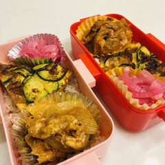 娘弁当/自分弁当/お弁当/甘酢/紫玉ねぎ/ズッキーニ/... 今日のお弁当  ポークケチャップ ズッキ…