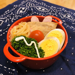 ウインナー/もやし/お酢/ゆで卵/プロッコリー/娘弁当/... 今日のお弁当  カジキの煮付け ウインナ…