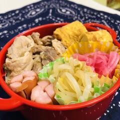 お弁当/卵焼き/生姜/豚肉/玉ねぎ/紫玉ねぎ/... 今日のお弁当  生姜焼き ウインナー 卵…
