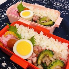 ウインナー/紫玉ねぎ/お酢/豚肉/ゴーヤ/おうちごはんクラブ/... 今日のお弁当  ゴーヤと豚肉のしょうゆ炒…