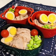 娘弁当/自分弁当/ゆで卵/焼き豚/ミニトマト/枝豆/... 今日のお弁当  焼き豚 煮卵 枝豆 ミニ…
