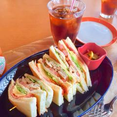 ランチ/ホットサンド/カフェ/秋/グルメ/おでかけ テラスでのランチ ホットサンドも美味しか…
