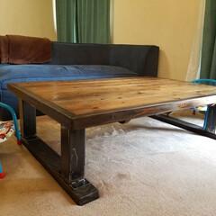 無骨/溶接DIY/鉄脚/ローテーブル/DIY チビ達がテーブルに乗り遊ぶため頑丈さにこ…