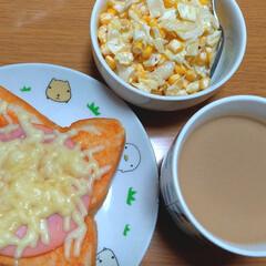 朝食/おうちごはん/おうちごはんクラブ ピザトーストとコールスロー